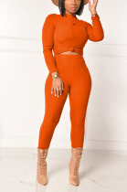 Casual Long Sleeve Round Neck Tee Top Super Soft High Bounce Long Pants Sets YYZ526