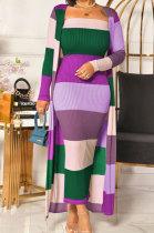 Sexy Rib Printing Color Matching Dress Add Long Coat QY5033