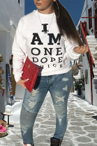 Fashion Casual Polyester Letter Long Sleeve Round Neck Tee Top YMT6035