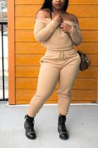 Casual Long Sleeve Off Shoulder Slant Pocket Waist Tie Tee Top Long Pants WXY5503
