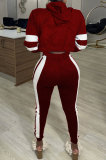 Spliced Hooded Felt Cardigan Pure Color Long Sleeve Two-Piece CYY8065