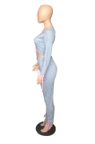 Casual Long Sleeve V Neck Knot Side Self Belted Tee Top Mid Waist Long Pants Sets WXY5525