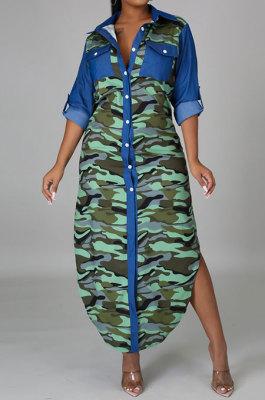 Autumn Winter Long Sleeve Suit collar Long Style Shirt-Style Dress YF8845