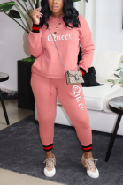 Casual Polyester Letter Long Sleeve Round Neck Spliced Long Pants Sets T3578