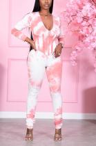 Casual Polyester Fashion Printing Long Sleeve V Neck Zipper Long Pants Sets JH211