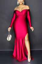 Sexy Polyester Long Sleeve Off Shoulder Split Hem Mid Waist Long Dress QY5036
