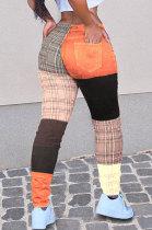 Casual Pants Printing Color Matching Plaid Long Pants WT9069