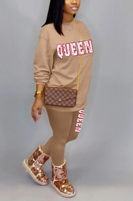 Casual Polyester Letter Long Sleeve Round Neck Long Pants Sets YSH6219