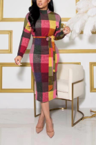 Sexy Plaid Long Sleeve Round Neck Self Belted Mid Waist Long Dress MMS8031