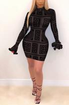 Casual Flare Long Sleeve Halterneck Round Neck Mid Waist Mini Dress YY5252