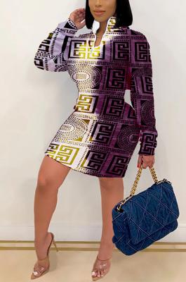 Multi Casual Swastika Printing Long Sleeve Round Neck Mid Waist Mini Dress YY5257