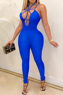 Fashion Dark V Tight Casual Sling Pure Color Jumpsuits CYF3879