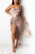 Night Out Sexy Polyester Cold Shoulder Self Belted Ruffle Mid Waist Long Dress KA7155