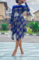 Cute Polyester Plaid Long Sleeve Round Neck Spliced High Waist Irregular Long Dress OMY8106