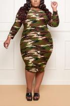Casual Polyester Camo Long Sleeve Round Neck Mid Waist Long Dress ED8349