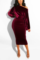 One Word Shoulder Sexy Polyester Long Sleeve Puff Sleeve Mid Waist Long Dress GL6091
