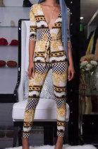 Sexy Womenswear Deep V Printing Jumpsuits EL8008