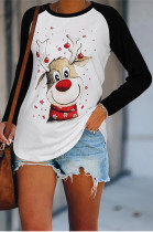 Casual Round Neck Christmas Print Long Sleeve T-Shirt For Women NS2612