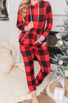 Christmas Plaid Print Hooded Drawstring Baggy Hoodie Trouser Suit NS7923