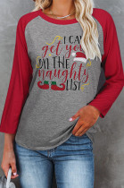 Casual Round Neck Christmas Print Long Sleeve T-Shirt For Women NS2617