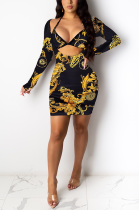 Elegant Sexy Polyester Floral Long Sleeve V Neck Self Belted Mid Waist Midi Dress FM6187