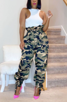 Street Style Polyester Camo Self Belted High Waist Long Pants Flare Leg Pants YBFS8014