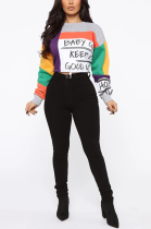 Casual Letter Long Sleeve Round Neck Contrast Binding Tee Top HSY19153