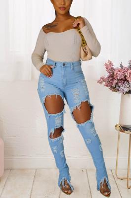 Street Style Cotton Tassel Irregular Slit Pencil Jeans Hem Long Pants Jeans JLX5503
