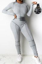 Letter Printing Rib Spliced Zipper Bodycon Jumpsuits MN8336