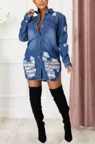 Cotton Geometric Graphic Ripped Slimming Long Sleeve Lapel Neck Buttoned Denim Jacket JLX6046