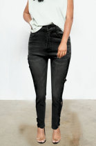 Lace Spliced Water Washing Jeans Mid Waist Pants Q8662