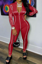 Long Sleeve Letter Printing Sexy Zipper Bodycon Jumpsuits MN8335