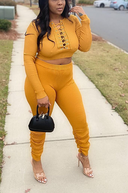 Casual Polyester Long Sleeve Self Belted Rib-Knit Tee Top Mid Waist Capris Pants Sets ALS231