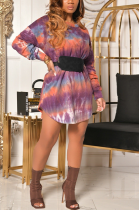 Sweet Casual Cute Polyester Tie Dye Long Sleeve Round Neck Mid Waist Mini Dress A-8591