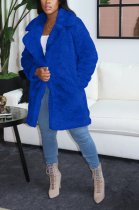 Street Style Long Sleeve Lapel Neck Longline Top 4/5000 ThickenedPuffy Fur Thickened Coat A-8592