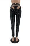 Sexy Pu Leather Self Belted Mid Waist Long Pants Capris Pants OX3527