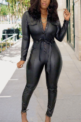 Casual Pu Leather Long Sleeve Buttoned Self Belted Bodycon Jumpsuit D8414