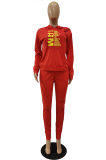 Casual Polyester Letter Burn Printing Long Sleeve Hoodie Mid Waist Long Pants Sets ALS3581