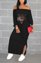 Casual Animal Graphic One Word Shoulder Long Sleeve Split Hem Long Dress QY5038