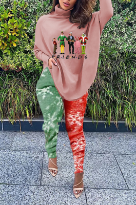 Casual Polyester Cartoon Graphic Long Sleeve Peter Pan Collar Tee Top Mid Waist Long Pants Sets SDE1196