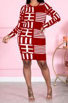 Fashion Sexy Long Sleeve Printing Casual Dress DY6628
