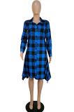 Elegant Plaid Long Sleeve Lapel Neck Buttoned Mid Waist Long Shirt Dress LML191