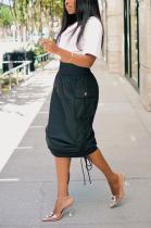 New Casual Polyester Drawstring Flat Pocket Ruffle Mid Waist Long Skirt D8413