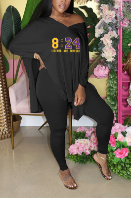 Casual Polyester Letter Long Sleeve V Neck Tee Top Long Pants Sets YFS3644