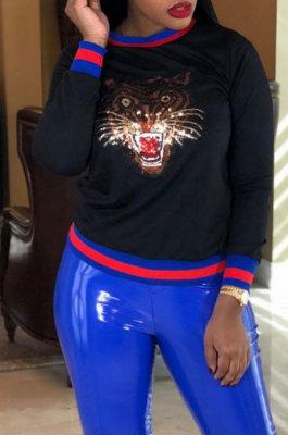 Tiger Head Stripe Round Neck Set Head Fleece Women TL6222