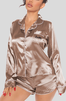 Sleepwear Casual Long Sleeve Lapel Neck Buttoned Drawstring Waist Mid Waist Shorts Sets Q757