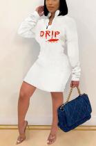 Sexy Polyester Letter Long Sleeve Lapel Neck Mid Waist Midi Dress XMY033