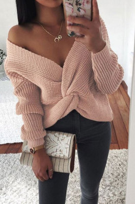 Sexy Dew Shoulder Tie A Knot Knit Jacket Casual Loose Women Sweartes FR427