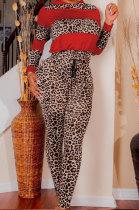 Fashion Womenswear Multi Leopard Spliced Printing Two-Piece TL6460