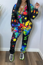 Long Sleeve Printing Cardigan Hooded Two-Piece TL6511